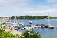 Boats in harbour scene at Tasinge Island off Svendborg, of South Funen Archipelago, Denmark