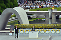 August 6, 2011, Hiroshima, Japan - Japans Prime Minister Naoto Kan addresses a memorial ceremony at Peace Memorial Park in Hiroshima on Saturday, August 6, 2011. Kan reiterated Japan's promise to never repeat the horrors of Hiroshima, whose suffering continues today because of illnesses passed down over generations.....Japan observed the 66th anniversary of the atomic bombing with a moment of silence and the release of doves in a memorial ceremony as the nation struggles to put a different kind of nuclear disaster under control at the crippled power plant in northeast. The worlds first A-bomb destroyed most of this western industrial city, killing as many as 140,000 people in the summer of 1945. A second atomic bombing Aug. 9 that year in Nagasaki killed tens of thousands more and prompted the Japanese to surrender. (Photo by Natsuki Sakai/AFLO [3615] -mis-