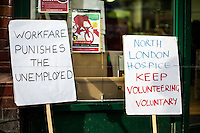 "10.01.2015 - ""Keep Volunteering Voluntary"" - Demo at ""North London Hospice"" in Crouch End"