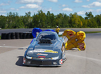 Aug 21, 2016; Brainerd, MN, USA; NHRA  top alcohol funny car driver Jonnie Lindberg after winning the Lucas Oil Nationals at Brainerd International Raceway. Mandatory Credit: Mark J. Rebilas-USA TODAY Sports