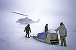 North Slope Borough Rescue Helicopter Landing During Rescue From Broken Off Floating Ice Sheet