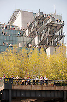 Visitors crowd the balconies of the Whitney Museum of American Art, over looking the High Line, in New York on Saturday, May 2, 2015 in the trendy Meatpacking District in New York.  The trendy neighborhood got even more trendy with the opening of the museum.  (© Richard B. Levine)