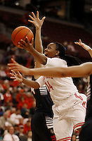 Ohio State Buckeyes guard Ameryst Alston (14) drives on Gonzaga Bulldogs center Shelby Cheslek (44) in the second half at Value City Arena in Columbus Dec. 8, 2013.(Dispatch photo by Eric Albrecht)