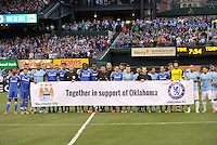 Players from both teams lined up in support of Oklahoma vms..Manchester City defeated Chelsea 4-3 in an international friendly at Busch Stadium, St Louis, Missouri.