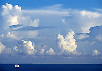 Sailing ship off the south shore of St John, US Virgin Islands with St Croix in the distance