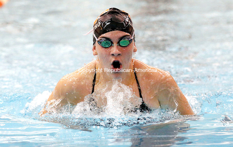 Watertown, CT- 29 September 2015-092915CM06- Watertown's Lauren Giampetro competes in the 200 yard IM during a meet against Sacred Heart on Tuesday.      Christopher Massa Republican-American