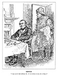 """Service. """"I hope you've had sufficient, Sir: it's not always an easy job to bring it."""" (the ghost of a fisherman enters John Bull's dining room)"""