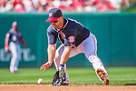 23 May 2015: Washington Nationals infielder Dan Uggla fields a grounder to get the first out of the 3rd inning against the Philadelphia Phillies at Nationals Park in Washington, DC. The Phillies defeated the Nationals 8-1 in the second game of their 3-game weekend series. Mandatory Credit: Ed Wolfstein Photo *** RAW (NEF) Image File Available ***