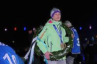 SCHAATSEN: AMSTERDAM: Olympisch Stadion, 28-02-2014, KPN NK Sprint/Allround, Coolste Baan van Nederland, Huldiging Olympische medaillewinnaars, Carien Kleibeuker, ©foto Martin de Jong