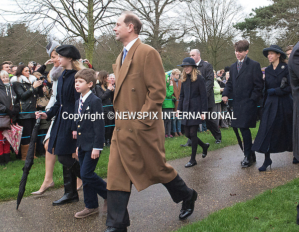 25.12.2015, Sandringham; UK: WESSEXES AND CHATTOS<br /> joined other members of the Royal Family at the Christmas Day Church Service at St. Mary Magdalene's on the Sandringham Estate.<br /> Royals in attendance included the Queen, Prince Philip, Prince Charles, Camilla, Prince Andrew, Princesses Beatrice and Eugenie, Princes William and Harry, Princess Anne, Tim Laurence, The Linleys.<br /> MANDATORY PHOTO CREDIT: &copy;AvantImage/NEWSPIX INTERNATIONAL<br /> <br /> (Failure to credit will incur a surcharge of 100% of reproduction fees)<br /> <br /> Please refer to usage terms<br /> Newspix International, 31 Chinnery Hill, Bishop's Stortford, ENGLAND CM23 3PS<br /> Tel:+441279 324672<br /> Fax: +441279656877<br /> Mobile:  07775681153<br /> e-mail: info@newspixinternational.co.uk<br /> All Fees Payable To Newspix International