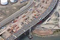 """Early Eastbound Approach Construction Contract B1, Pearl Harbor Memorial """"Q"""" Bridge, just east of Interstate I-95 I-91 CT Route 34 Interchanges. Surface road Water Street/Forbes Avenue at left. Details of approaches, overpasses, ramps & roadway near or within I-95 New Haven Harbor Crossing Corridor projects confines. Photography taken at the beginning of Contract B1 & E1"""
