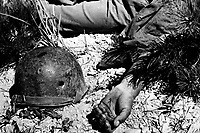 How a man died on the way to Maeson Dong.  September 2, 1950.  Sgt. Turnbull. (Army)<br /> NARA FILE #:  111-SC-347826<br /> WAR &amp; CONFLICT BOOK #:  1511