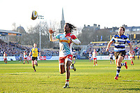 Marland Yarde of Harlequins chases after the ball. Aviva Premiership match, between Bath Rugby and Harlequins on February 18, 2017 at the Recreation Ground in Bath, England. Photo by: Patrick Khachfe / Onside Images