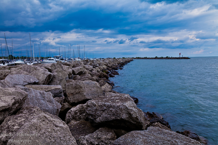 A view at Bronte Harbour in Oakville with stormy skys