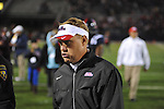 Ole Miss Coach Hugh Freeze walks off the field following a loss vs. Texas A&amp;M at Vaught-Hemingway Stadium in Oxford, Miss. on Saturday, October 6, 2012. Texas A&amp;M rallied from a 27-17 4th quarter deficit to win 30-27.