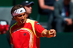 06.04.2012 Oropesa, Spain. 1/4 Final Davis Cup. David Ferrer looks on during second match of 1/4 final game of Davis Cup played at Oropesa town.