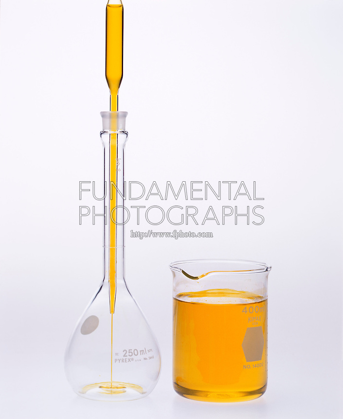 PREPARING SOLUTION BY DILUTION: POTASSIUM CHROMATE<br /> (2 of 3)<br /> Discharging pipette of .50M K2CrO4(aq) into a 250ml volumetric flask.