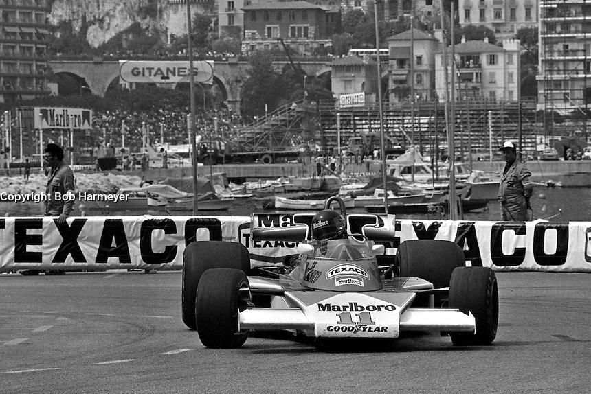 MONTE CARLO, MONACO - MAY 30: James Hunt of Great Britain drives his McLaren M23 8-2/Ford Cosworth during practice for the Grand Prix of Monaco FIA Formula 1 race at the Circuit de Monaco temporary street circuit in Monte Carlo, Monaco on May 30, 1976.