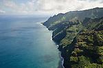 Aerial view of the Na Pali Coast, looking west toward Ke'e Beach, Kauai, Hawaii