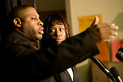 """Crystal Mangum and her publicist, Vincent """"Ed"""" Clark, during a press conferenc at the Know Bookstore to announce the release of her book """"Last Dance for Grace: The Crystal Mangum Story"""" on Thursday, Oct. 23, 2008."""