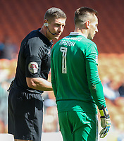 Referee Robert Jones has a word with Cheltenham Town's Scott Brown<br /> <br /> Photographer Alex Dodd/CameraSport<br /> <br /> The EFL Sky Bet League Two - Blackpool v Cheltenham Town - Saturday 22nd April 2017 - Bloomfield Road - Blackpool<br /> <br /> World Copyright &copy; 2017 CameraSport. All rights reserved. 43 Linden Ave. Countesthorpe. Leicester. England. LE8 5PG - Tel: +44 (0) 116 277 4147 - admin@camerasport.com - www.camerasport.com