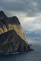 Light and shadows on coastal cliffs, Vestvågøy, Lofoten Islands, Norway