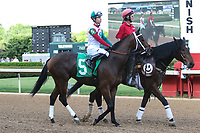 HOT SPRINGS, AR - April 15: Inside Straight #5 and jockey Giovanni Franco in the post parade prior to the Oaklawn Handicap at Oaklawn Park on April 15, 2017 in Hot Springs, AR. (Photo by Ciara Bowen/Eclipse Sportswire/Getty Images)