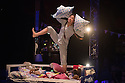 "Edinburgh, UK. 06.08.2016. Upswing present ""Bedtime Stories"", a children's circus show, in the Lafayette spiegeltent in the Circus Hub on the Meadows, as part of Edinburgh Festival Fringe.  The performers are: Hannah O'Leary (Mum), Nathan Johnston (Three), Hazel Lam (Girl). Photograph © Jane Hobson."