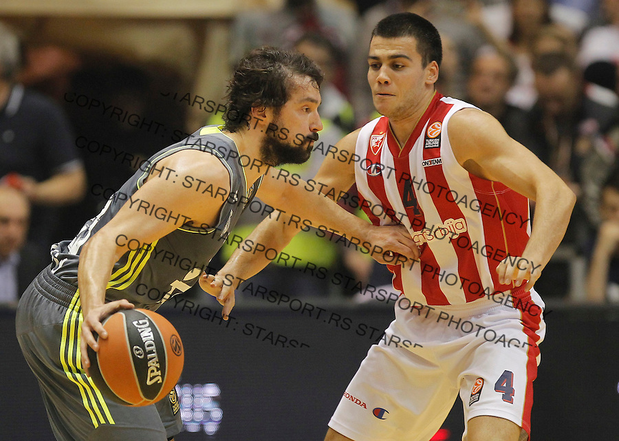 Kosarka Euroleague season 2015-2016<br /> Euroleague <br /> Crvena Zvezda v Real Madrid<br /> Sergio Llull and Nikola Rebic (R)<br /> Beograd, 27.11.2015.<br /> foto: Srdjan Stevanovic/Starsportphoto &copy;