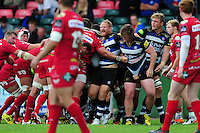 Ross Batty of Bath Rugby celebrates a scrum penalty. Pre-season friendly match, between the Scarlets and Bath Rugby on August 20, 2016 at Eirias Park in Colwyn Bay, Wales. Photo by: Patrick Khachfe / Onside Images