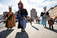NEW YORK - JANUARY 06: Revelers dressed as kings march during Three Kings Day Parade in East Harlem January 6, 2017 in New York City. The parade celebrates the Feast of the Epiphany, also known as Three Kings Day, marking the Biblical story of the visit of three kings to Bethlehem to visit the baby Jesus, revealing his divinity. Photo by VIEWpress/Maite H. Mateo