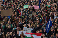 People participate in a demonstration to support civil society in Budapest, Hungary on April 12, 2017. ATTILA VOLGYI