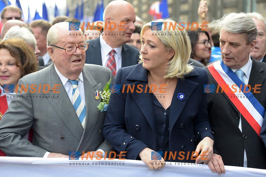 01-05-2014 Parigi <br /> Marine Le Pen - Presidente du Fn<br /> Jean Marie Le Pen <br /> Foto Panoramic / Insidefoto