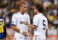 Pepe (left) talks to Fernando Gago (right). Real Madrid defeated Club America 3-2 at Candlestick Park in San Francisco, California on August 4th, 2010.