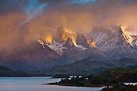 Clouds over the horns in the Torres del Paine National Park, Chile.