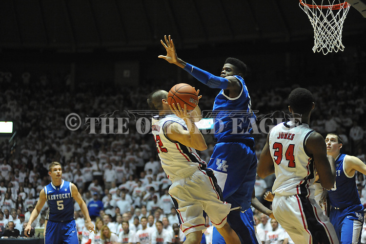 "Ole Miss' Marshall Henderson (22) vs. Kentucky's Nerlens Noel (3) at the C.M. ""Tad"" Smith Coliseum on Tuesday, January 29, 2013."