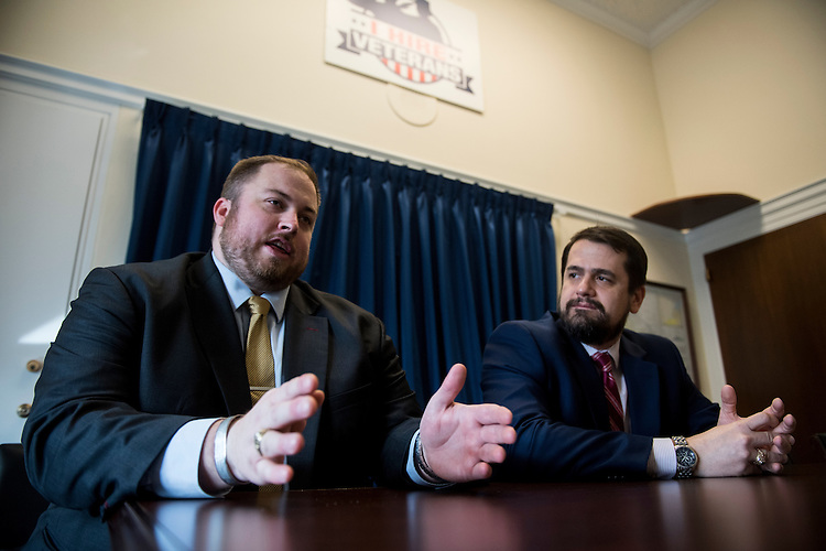 UNITED STATES - FEBRUARY 27: Service Academy Graduate Staff Association co-chairs Jakob Johnsen, left, and Tim Bertocci speak with Roll Call on Monday, Feb. 27, 2017. (Photo By Bill Clark/CQ Roll Call)