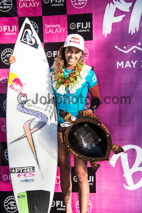 Namotu Island Resort, Namotu, Fiji. (Thursday May 29, 2014) –  The Fiji Women's Pro, Stop No. 5 of 10 on the 2014  Women's World Championship Tour (WCT) was won today by Australian Sally Fitzgibbons who defeated five times World Surfing Champion Stephanie Gilmore (AUS) in the 35 minute final. The last day of the event was held at Cloudbreak in solid 6'-8' surf, possibly the largest surf an Women's World Tour event ah ever been run. The final day saw the remaining heats of Round 4 completed then right through to the final. Photo: joliphotos.com