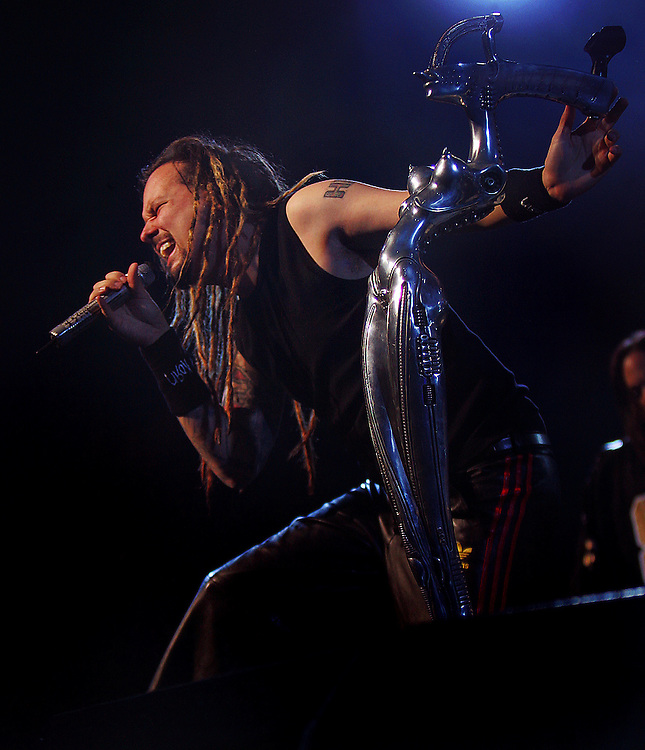 Korn's Jonahan Davis sings on stage during the KROQ Acoustic Christmas concert, Saturday night at the Gibson Amphitheatre.