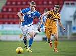 St Johnstone U20 v Motherwell U20&hellip;03.10.16.. McDiarmid Park   SPFL Development League<br />David Wotherspoon shrugs off Allan Campbell<br />Picture by Graeme Hart.<br />Copyright Perthshire Picture Agency<br />Tel: 01738 623350  Mobile: 07990 594431