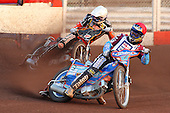 Heat 3 re-run: D Davidsson (red) and Klindt - Lakeside Hammers vs Wolverhampton Wolves - Sky Sports Elite League Speedway at Arena Essex Raceway, Purfleet - 24/05/10 - MANDATORY CREDIT: Gavin Ellis/TGSPHOTO - Self billing applies where appropriate - Tel: 0845 094 6026