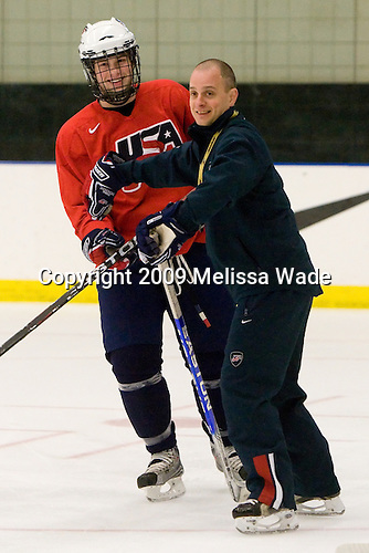 Kenny Ryan (US - 26), Chadd Cassidy (US - Assistant Coach) - The US practiced the morning of Sunday, April 19, 2009, prior to their gold medal game against Russia in the 2009 World Under 18 Championship at the Urban Plains Center in Fargo, North Dakota.