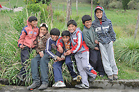 A gathering of families in a rural Indigenous mountain community. Chimborazo Province, Ecuador