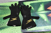 Jun. 16, 2012; Bristol, TN, USA: Detailed view of the Impact racing fire protective gloves worn by NHRA top fuel dragster driver Terry McMillen during qualifying for the Thunder Valley Nationals at Bristol Dragway. Mandatory Credit: Mark J. Rebilas-