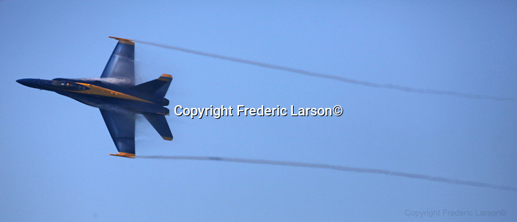 The Navy Blue Angels fly over the Bay Area during Fleet week in San Francisco...