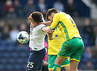 Preston North End's Jordan Hugill battles with  Norwich City's Russell Martin<br /> <br /> Photographer Mick Walker/CameraSport<br /> <br /> The EFL Sky Bet Championship - Preston North End v Norwich City - Monday 17th April 2017 - Deepdale - Preston<br /> <br /> World Copyright &copy; 2017 CameraSport. All rights reserved. 43 Linden Ave. Countesthorpe. Leicester. England. LE8 5PG - Tel: +44 (0) 116 277 4147 - admin@camerasport.com - www.camerasport.com