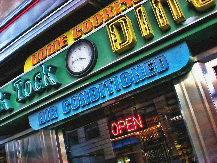 HDR of the iconic Tick Tock Diner on 34th Street, Manhattan, New York City.