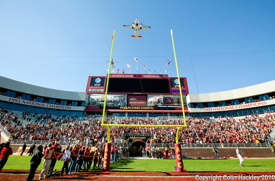 TALLAHASSEE, FL 11/6/10-FSU-NC FB10 CH-The U.S. Coast Guard provided the fly over prior to the Florida State North Carolina game Saturday at Doak Campbell Stadium in Tallahassee. The Seminoles lost to the Tarheels 37-35..COLIN HACKLEY PHOTO
