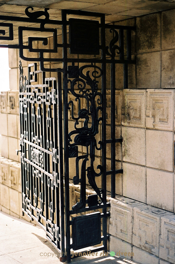 The gate at Ennis House by architect Frank Lloyd Wright, Los Angeles, California