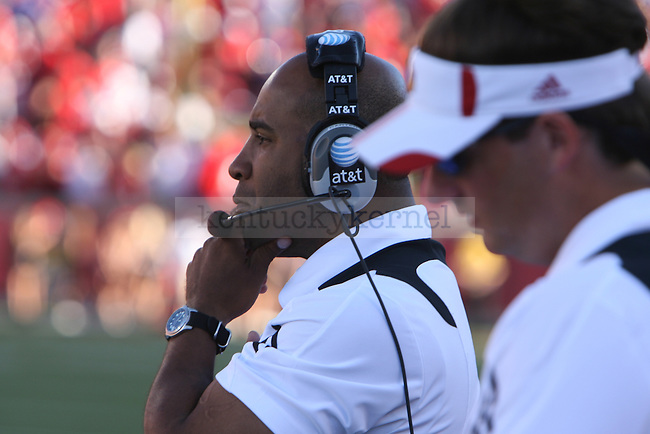 UofL's first season head coach Charlie Strong looks on as his team plays UK at Papa John's Cardinal Stadium on Saturday, Sept. 4, 2010. Photo by Scott Hannigan | Staff